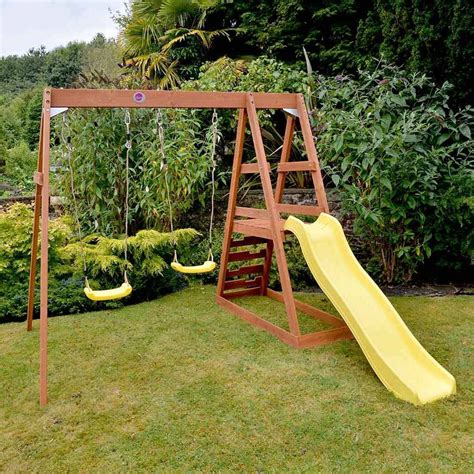 cedar swing set with slide plum tamarin wooden swing slide set ebay