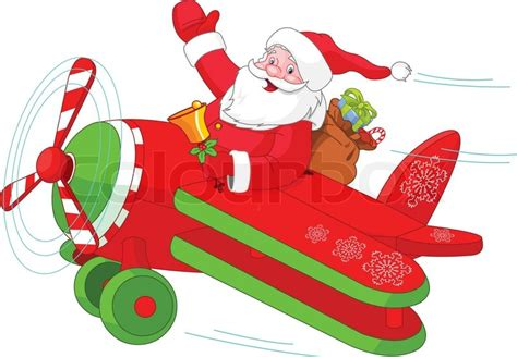 illustration of santa flying his christmas plane stock