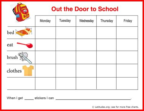 free printable incentive charts for school free reward chart out the door to school