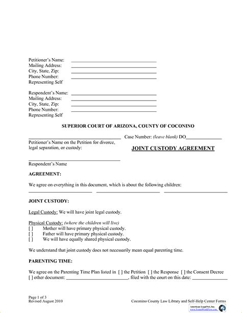 Custody Agreement Template Doliquid Joint Child Custody Agreement Template