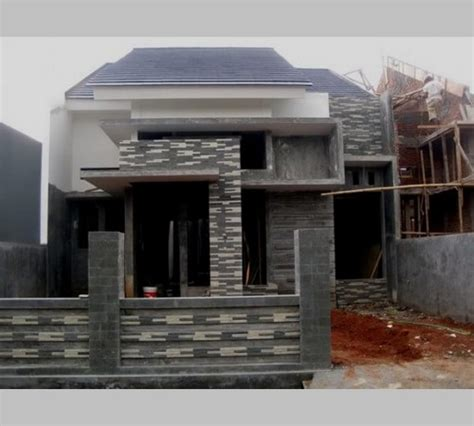 desain teras rumah  batu alam  limasan jawa