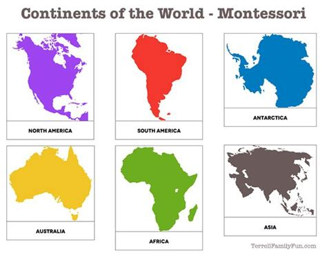 free printable montessori continent map continents of the world montessori printable for kids