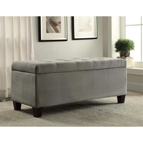 linon home decor linon home decor carmen grey storage bench 40602gry 01 kd