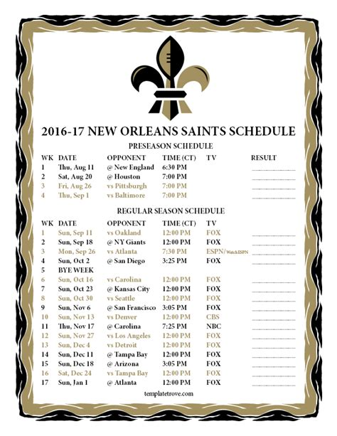 printable saints schedule 2015 2015 new orleans saints football schedule autos post