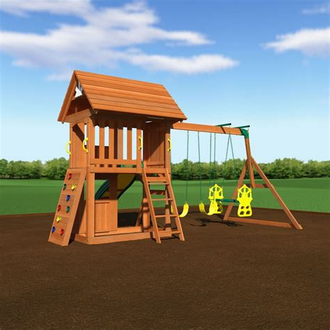 Backyard Discovery 2 N 1 Safety Swing Alpine Wooden Swing Set With Assembly