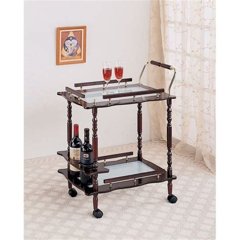Top Bar Cherry Hill by Bowery Hill Glass Top Bar Cart In Cherry Bh 532308