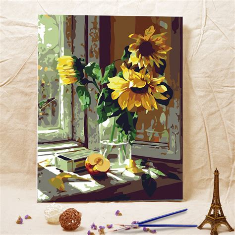 unique gifts home decor frameless diy oil painting window sill sunflower acrylic
