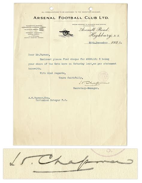 Chapman Acceptance Letter Lot Detail Herbert Chapman Typed Letter Signed On Arsenal Football Club Letterhead