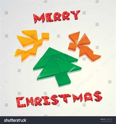 printable christmas tree tangram christmas card angels christmas tree created stock vector