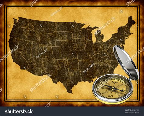 map of usa with compass map usa compass stock illustration 91844120