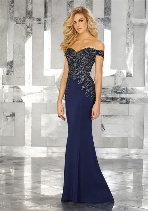 Evening Gowns by Form Fitting Special Occasion Gown With Beaded Embroidery