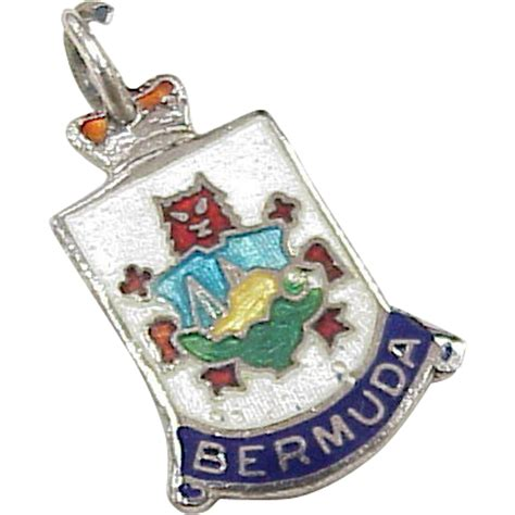 vintage sterling silver travel charm bermuda colorful