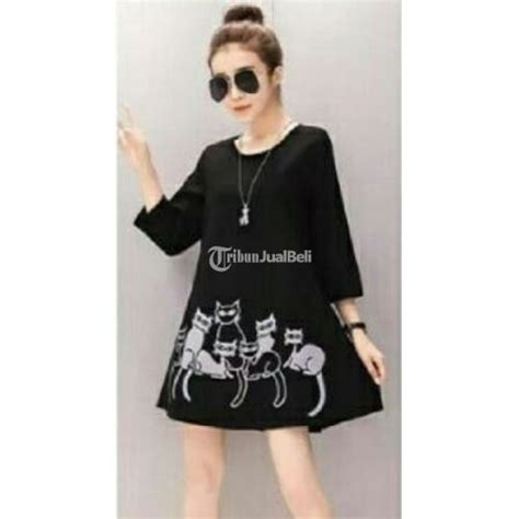 Baju Import Baju Murah Baju Fashion A31033 Dress baju wanita mini dress korea style kaos cat kucing murah