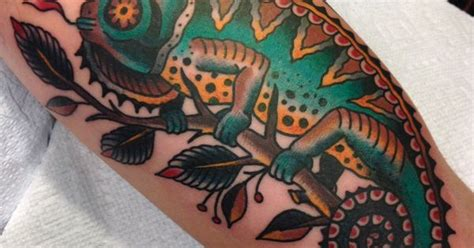 tattoo cost vancouver traditional chameleon by matthew houston gastown tattoo