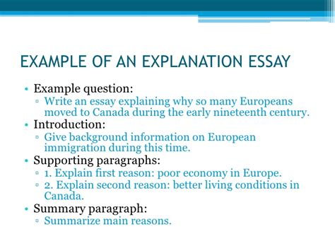 Exles Of Explanation Essay by Types Of Essays