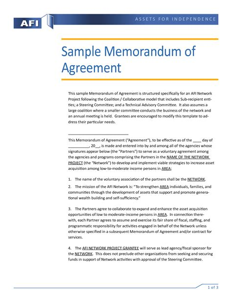 template memorandum of agreement memorandum of agreement sle