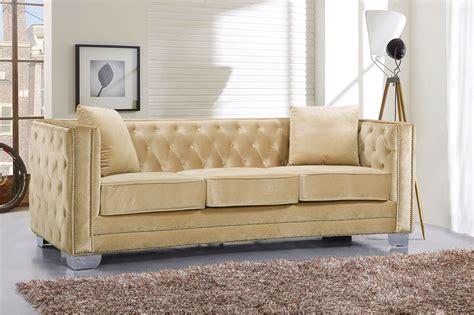 velvet button tufted sofa gianni modern beige button tufted velvet sofa loveseat w