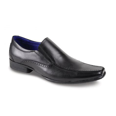 trafalgar black leather slip on shoe