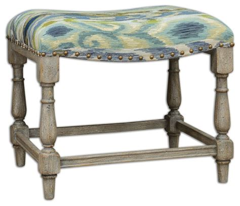 small padded bench uttermost minkah small bench farmhouse upholstered