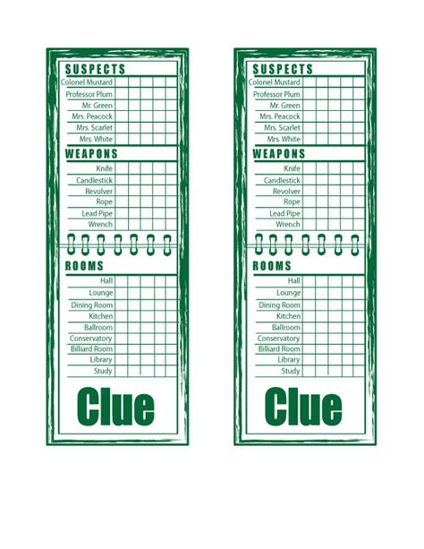 clue score cards template 7 best images of printable board clue sheets clue