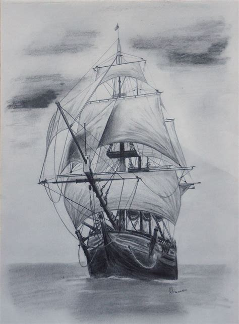 boat with drawing drawn sailing boat pencil drawing pencil and in color