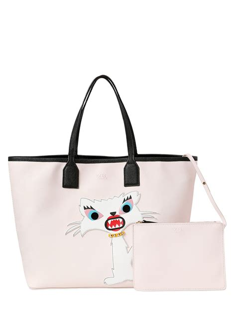 Karl Lagerfeld Says Get A Bag Perhaps From His New Purse Line by Karl Lagerfeld Choupette Tote Bag In Beige