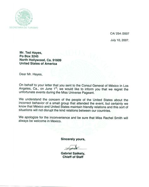 Apology Letter To Official Official Mexican Government Apology