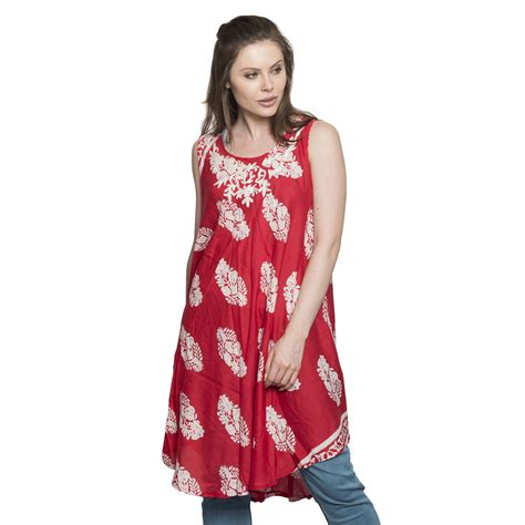 Lc Neo Embroidered Print 100 viscose leaf print tunic dress with embroidered
