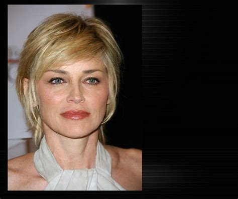 sharon stone short hair on round face short haircuts for thick curly hair and round faces