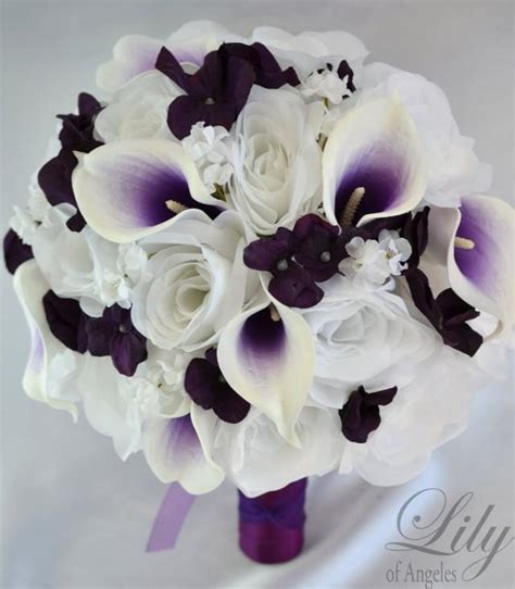 17 Piece Package Wedding Bridal Bouquet Silk Flowers Bouquets Bride Groom Maid Picasso Calla