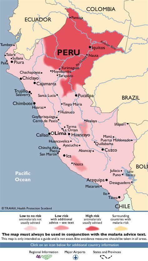 malaria south america map peru malaria map fit for travel