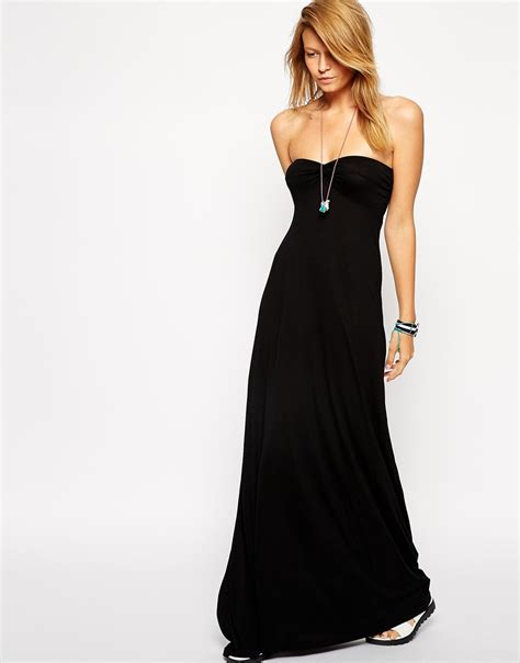 Maxi Jersey Manila Black Murah asos twist bandeau jersey maxi dress in black lyst