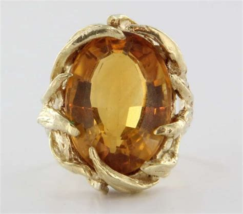 vintage 14 karat yellow gold citrine cocktail ring