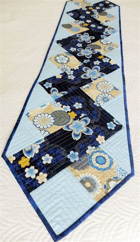 zig zag table runner zig zag patchwork quilted tablerunner blue and