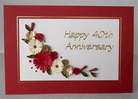 Handmade Ruby Wedding Cards - quilled 40th ruby wedding anniversary card handmade paper