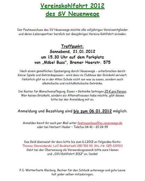Muster Einladung Kohlfahrt Sv Neuenwege Kohlfahrt 2012