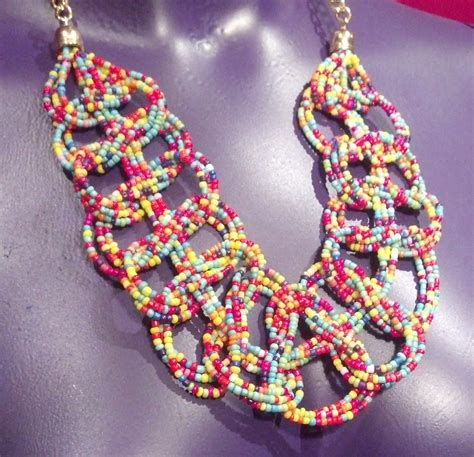 rainbow braided statement necklace multi colored