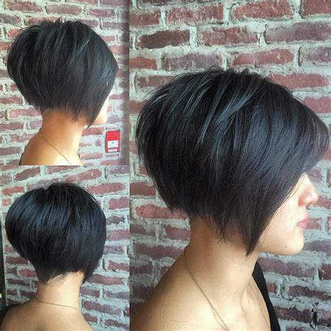 dark hair with graduated layers this black undercut bob with choppy graduated layers and