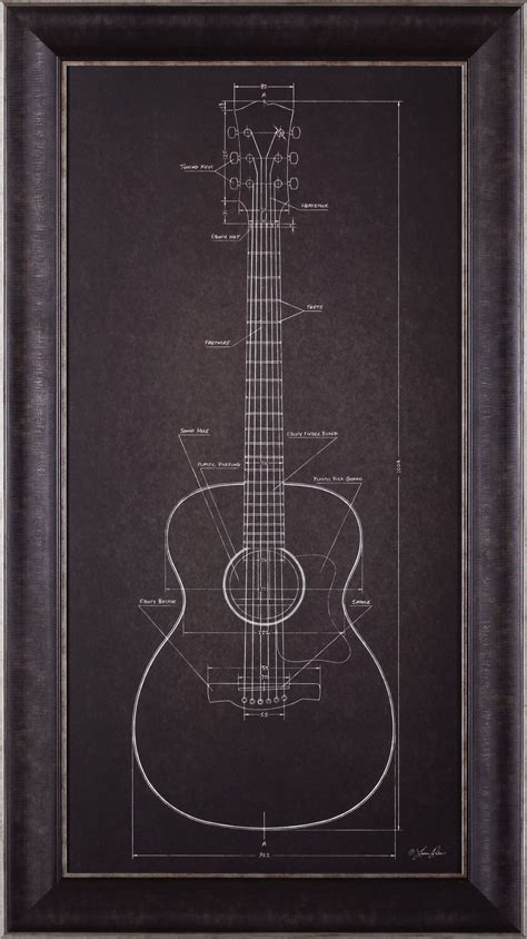 design effect guitar acoustic guitar blueprint by lauren rader framed graphic