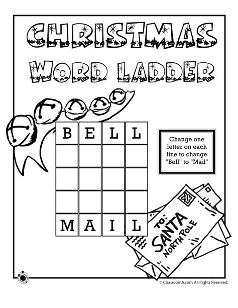 printable word ladder games christmas 3 letter word ladder bell to mail woo jr