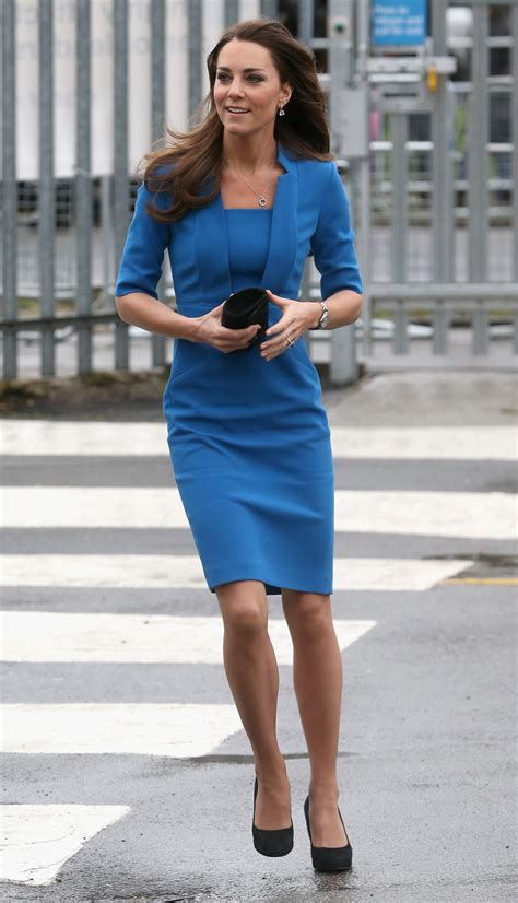 Kate Middleton Blue Knee Length Dress   POPSUGAR Fashion