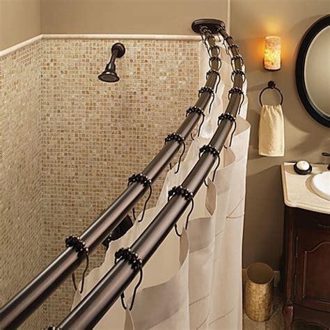 moen double shower curtain rod moen 174 old world bronze double curved shower rod bed bath