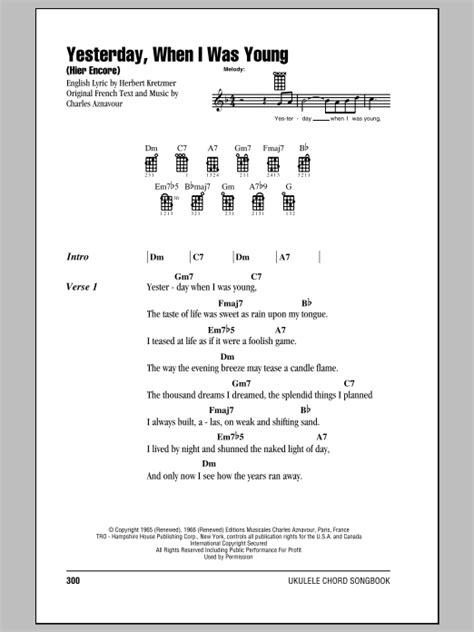 strumming pattern young volcanoes yesterday when i was young hier encore sheet music by