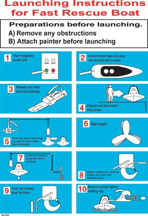rescue boat launching procedure safety instructions imo signs wayout evacuation systems