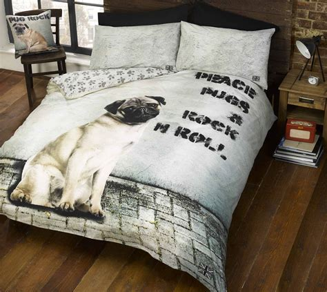 pug dog quilt duvet cover p cases bed set bedding bed