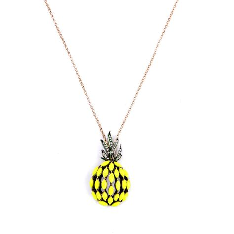 Lovely Necklaces by Pineapple Pendant Necklace Chain Lovely Yellow