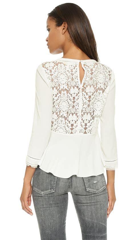 lace back top in white chalk lyst