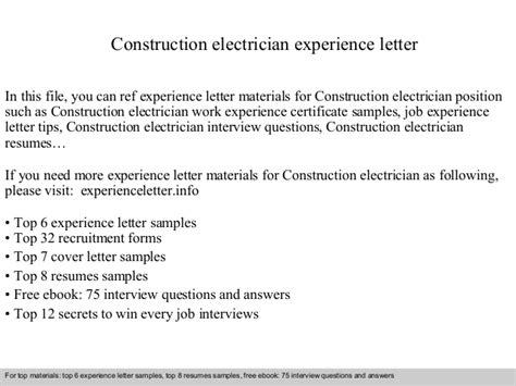 Experience Letter Electrical Construction Electrician Experience Letter