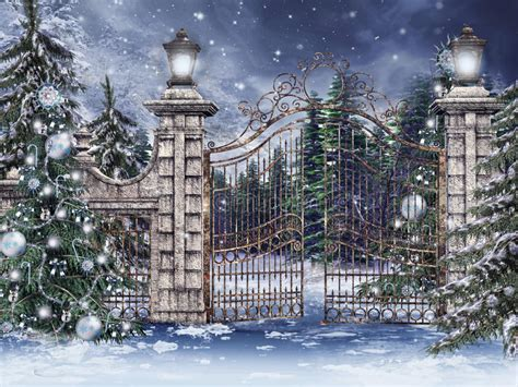 christmas tree gate vintage gate with trees stock images image 27721764