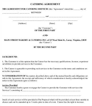 free sle catering contract template catering agreement template 9 free word pdf format